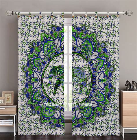 elephant tapestry curtain blue green decorative asian elephant mandala deja vu