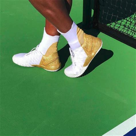 serena reveals shiny gold nike kicks for her australian