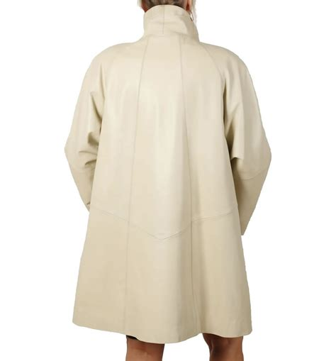 3 4 Length Ivory Leather Swing Coat From Simons Leather