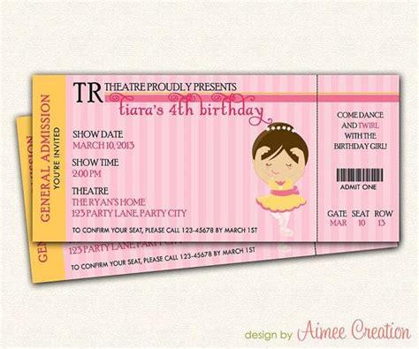 printable dance tickets ballet invitation ticket printable ballerina by