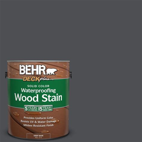 behr solid color waterproofing wood stain behr deckplus 1 gal ppu18 1 cracked pepper solid color