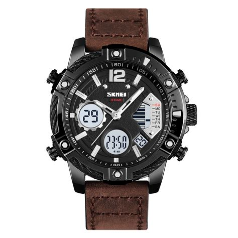 skmei jam tangan digital analog pria strap kulit