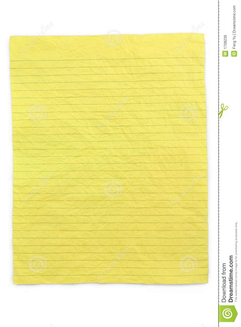 yellow writing paper crumpled yellow lined paper royalty free stock images