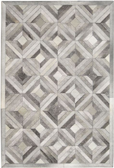 madisons gray parquet pattern patchwork cowhide rug