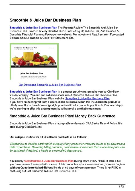 Sle Business Plan For Daycare Pdf Juice Bar Business Plan Template Free
