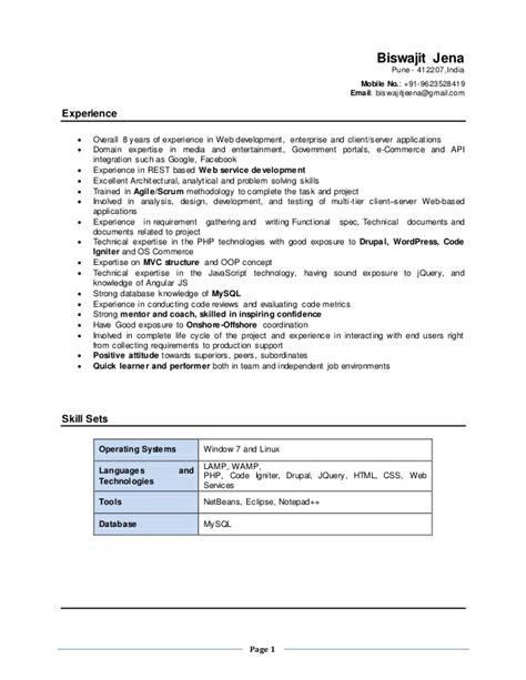 Drupal Developer Sle Resume by Drupal Resume