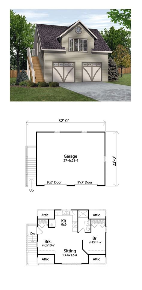garage plans with living area garage apartment plan 45134 total living area 511 sq ft