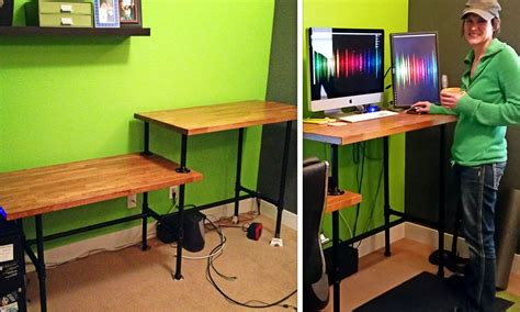 standing pipe desk diy adjustable standing desk from steel pipe ikea countertop