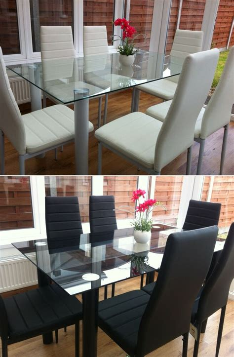 glass table and chairs stunning glass dining table set and with 6 faux leather