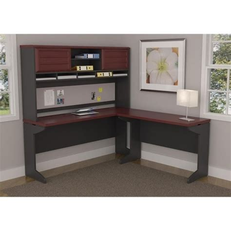 grey desk with hutch altra furniture pursuit l shaped desk with hutch in cherry