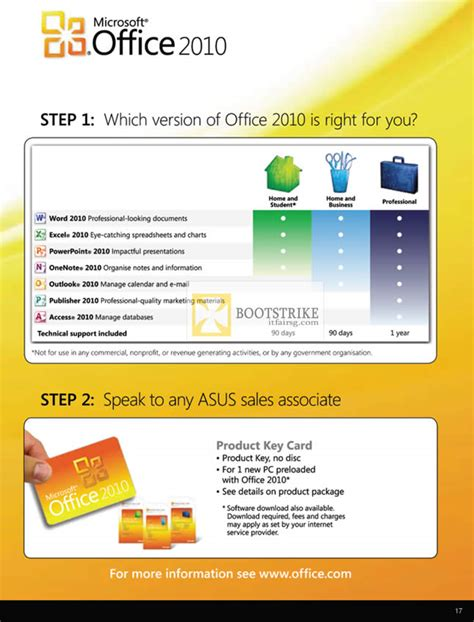 asus notebooks microsoft office 2010 comparison chart