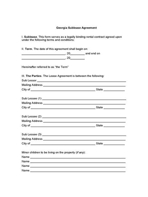 georgia rent  lease template  templates
