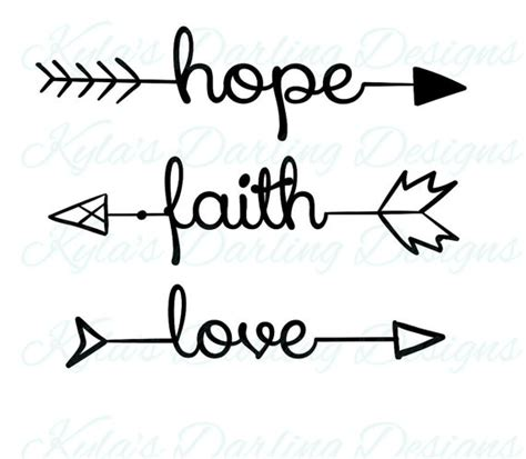 hope faith love arrow words