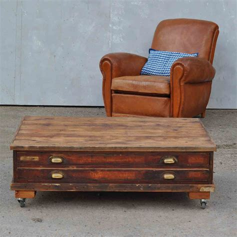 Vintage Plan Chest Coffee Table On Wheels Antique Chest Coffee Table
