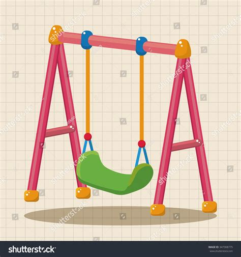 Playground Swing Theme Elements Stock Vector Illustration