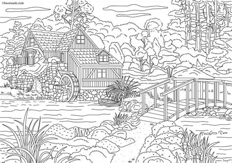 country house coloring pages country spring house with a mill printable adult