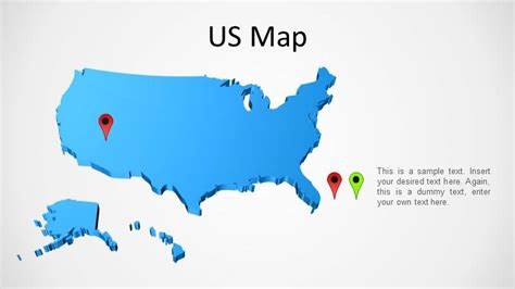 us map outline for powerpoint 3d powerpoint map of the united states slidemodel