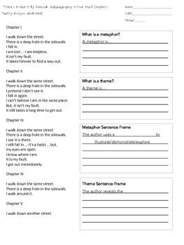 Poetry Analysis Worksheet by Quot There S A In My Sidewalk Quot Poetry Analysis Worksheet