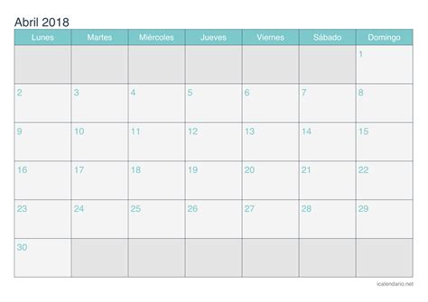 Calendario Abril 2018 Calendario Abril 2018 Para Imprimir Icalendario Net