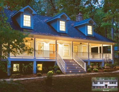 Split Level Front Porch Designs From Split Foyer To 3 Story Country Style Home With Wrap Around Porch Traditional Exterior