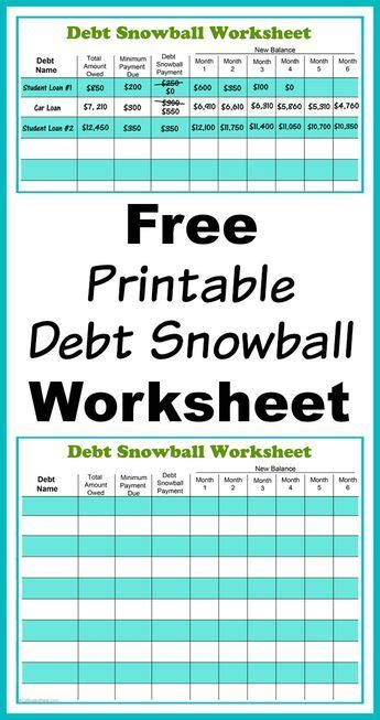 printable debt snowball worksheet diy debt