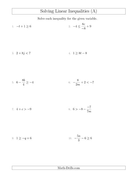 linear inequalities worksheet solving linear inequalities mixed questions a