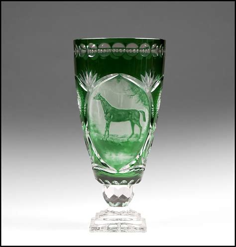 Bohemian Glass Vase green cut to clear bohemian glass vase engraved cameo from piatik on ruby