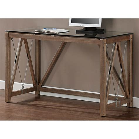 wood desk with glass top glass top cable desk