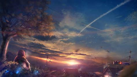 beautiful anime girl wallpaper desktop beautiful scenery anime girl at sunset wallpapers free