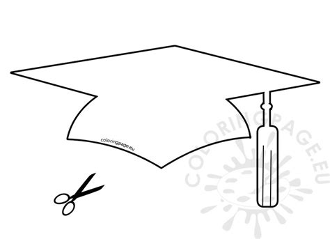 template of graduation hat paper graduation hat template coloring page