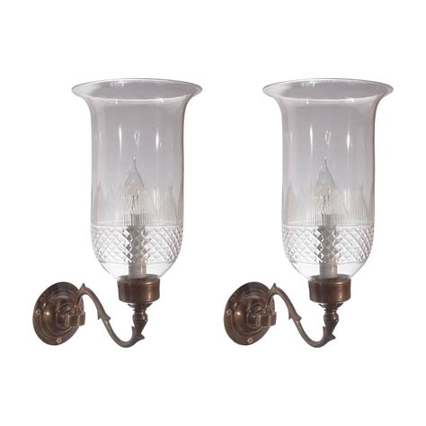 Hurricane Wall Sconce Pair Of Cut Glass Hurricane Shade Sconces At 1stdibs