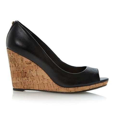 dune celia cork wedge court shoes in black lyst