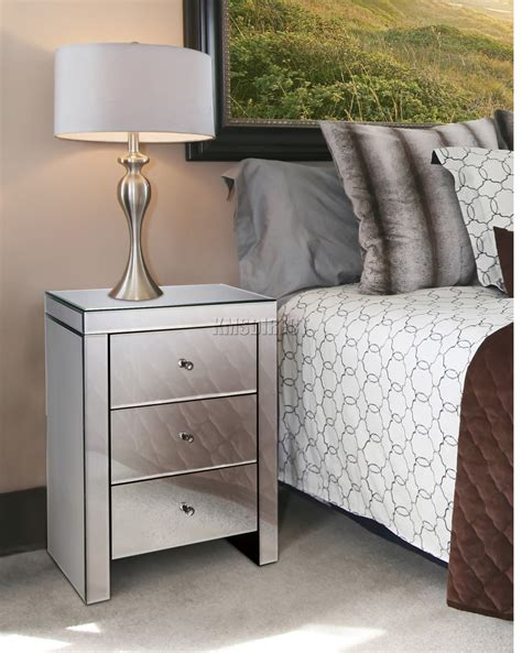 Bedroom Bedside Table Ls by Foxhunter Mirrored Furniture Glass 3 Drawer Bedside