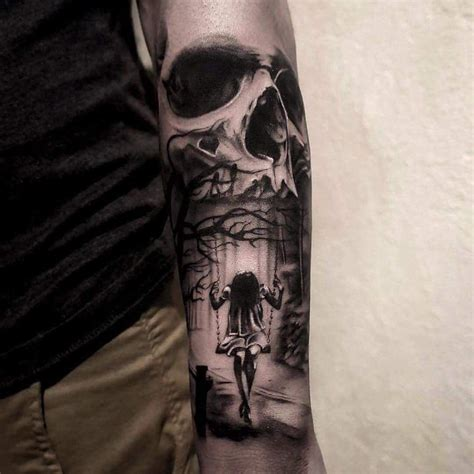 skull tattoos on forearm idk the meaning for the person but for me its childhood