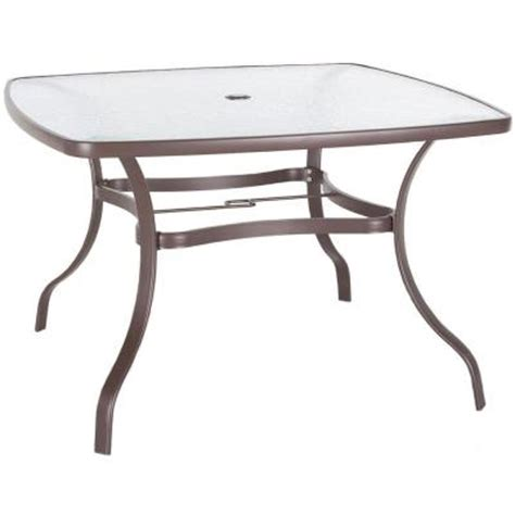 44 in glass top steel patio dining table discontinued t