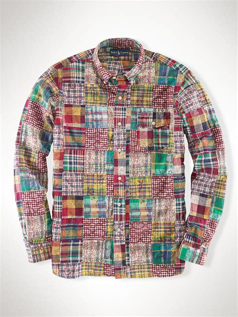 lyst polo ralph custom patchwork madras shirt in