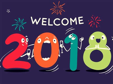 2018 happy new year welcome funny logo 4k wallpaper uhd