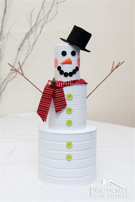 diy christmas craft tin can snowman