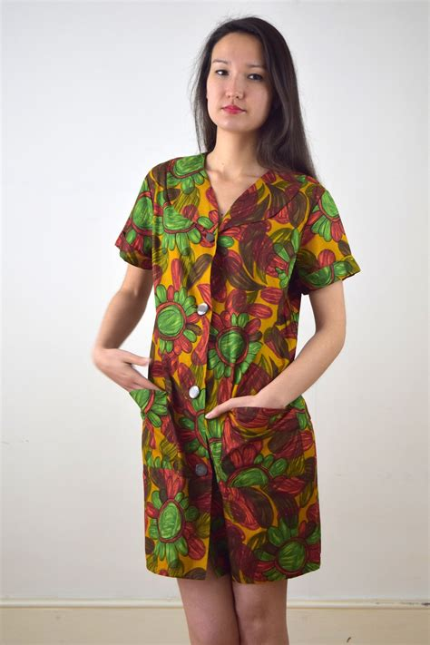 design dress cotton miniola vintage 1960s cotton dress with printed design