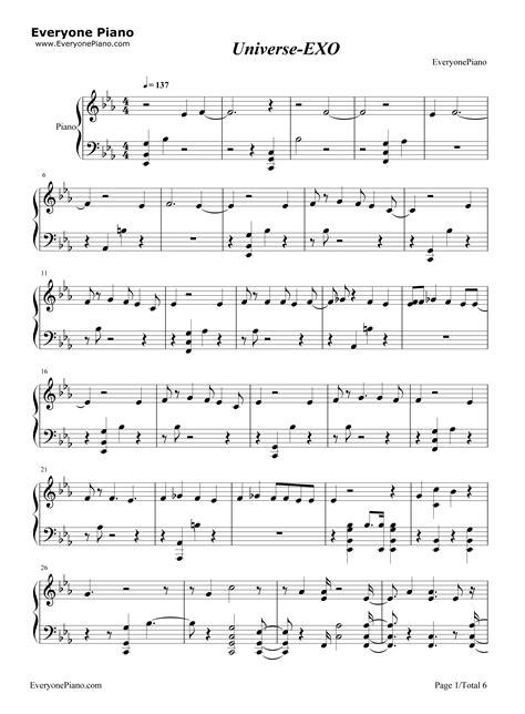 exo universe chord universe exo stave preview 1 free piano sheet music