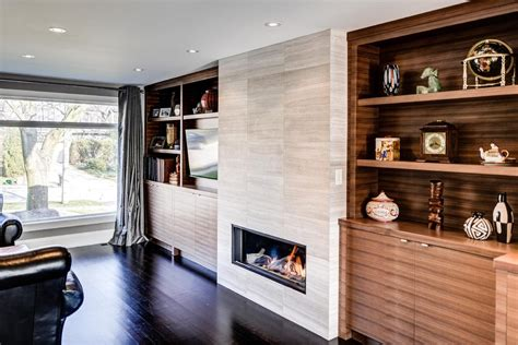 Linear gas fireplace family room contemporary with large
