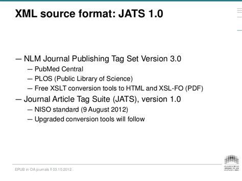 epub format xml epub as publication format in open access journals