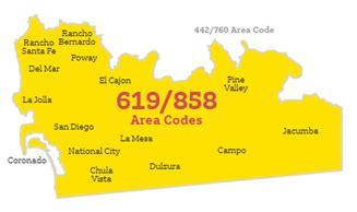 858 area code map california 619 858 boundary elimination area code overlay