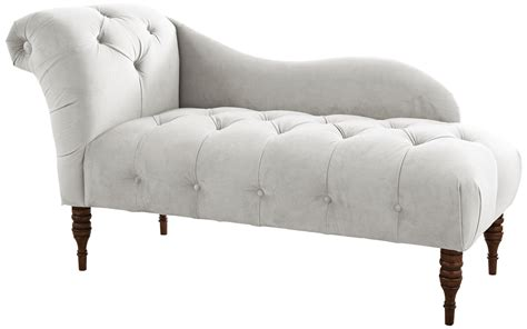 White Chaise Lounge Chairs by White Velvet Upholstered Chaise Lounge Chair Style