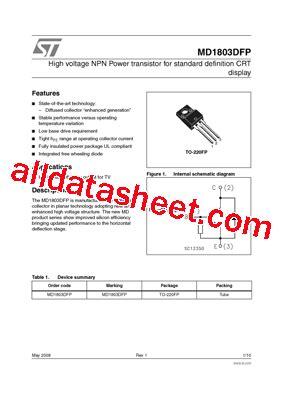 transistor horizontal md 1803 md1803dfp datasheet pdf stmicroelectronics