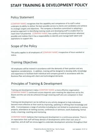 training amp development policy for recruitment agencies