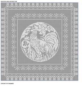 Crochet Patterns For Home Decor 546 Rooster With Veggies Filet Crochet Bedspread
