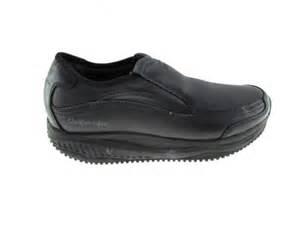 s skechers black leather work shape ups slip