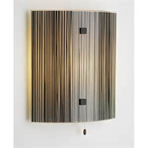 swirl glass panel wall light with vertical black treacle
