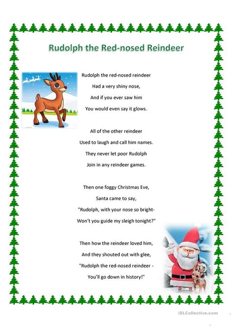 printable lyrics to rudolph the red nosed reindeer rudolph the red nosed reindeer song and ws worksheet